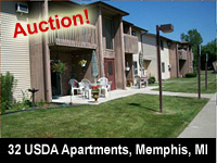 Real Estate Auction - USDA Apartment Complex, 32 Units, Government Owned - 80521 Henderson St., Memphis, MI 48041 - Interstate Auction Co.